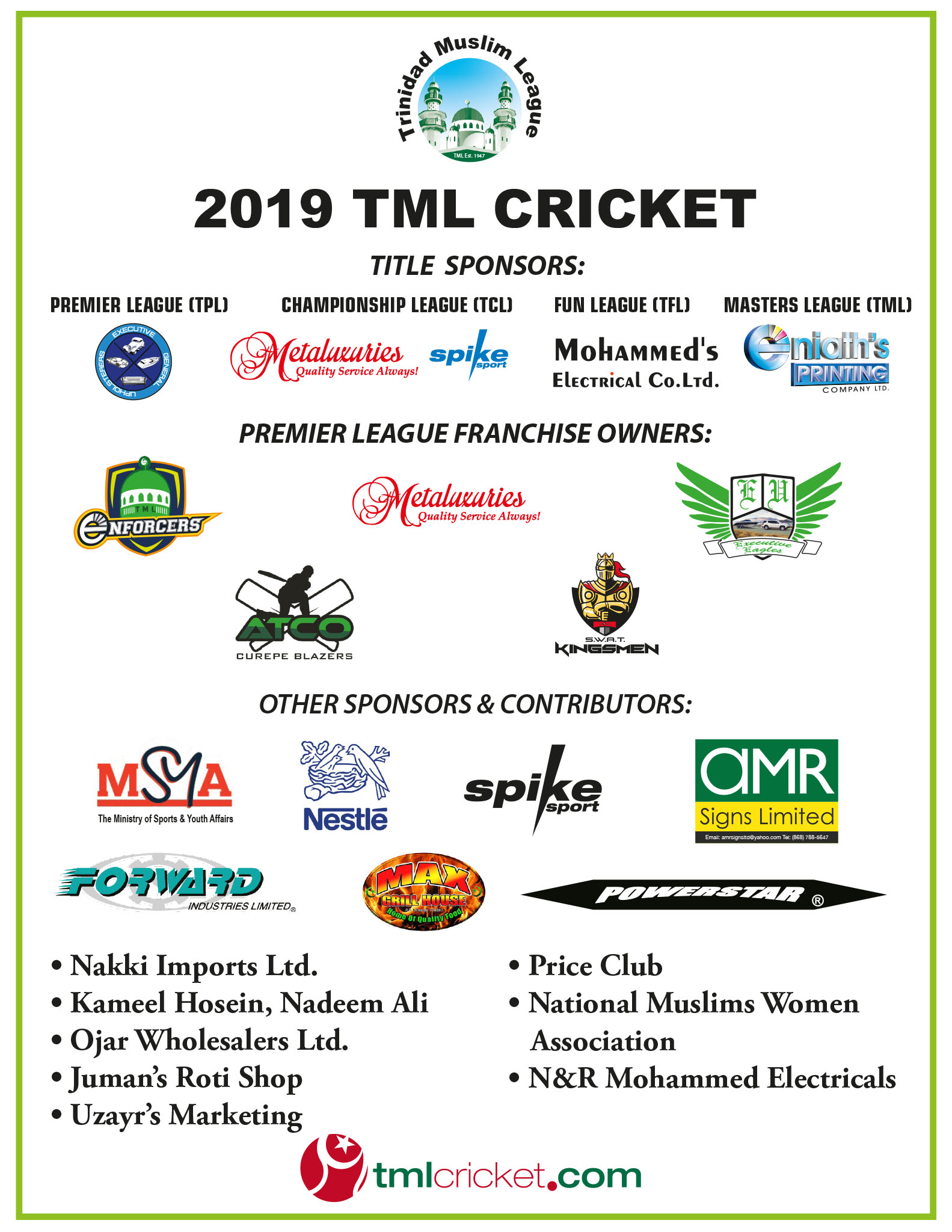 TML Cricket 2019 Competition Sponsors