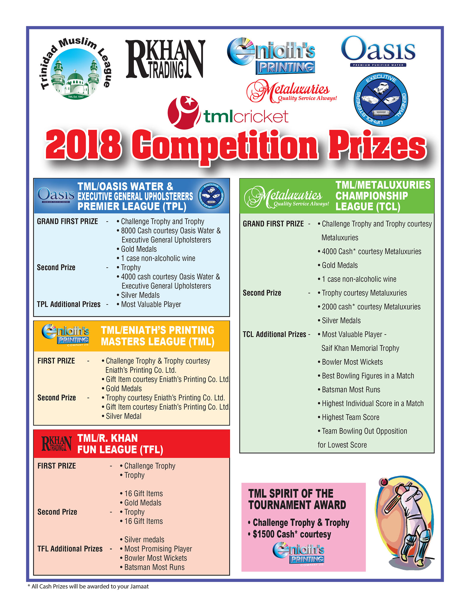 TML Windball Cricket Competition 2018 - Prizes